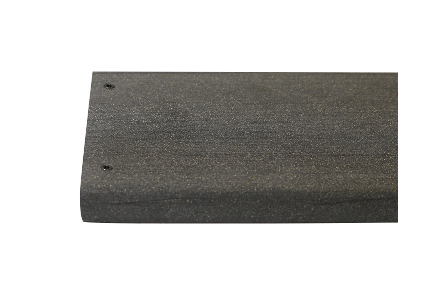 Charcoal composite decking board with two Charcoal colour match screw fixed to the far left face of the board.