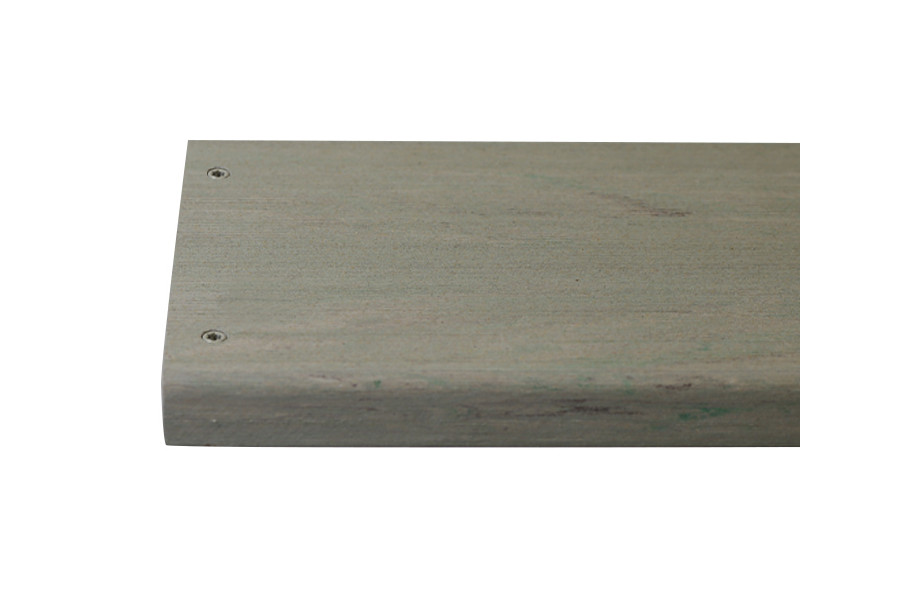 Luna composite decking board with two Luna colour match screw fixed to the far left face of the board.