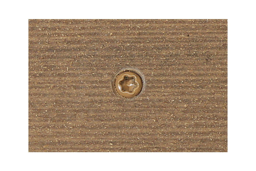 Mocha composite decking board with Mocha colour match screw fixed to the middle of the board.