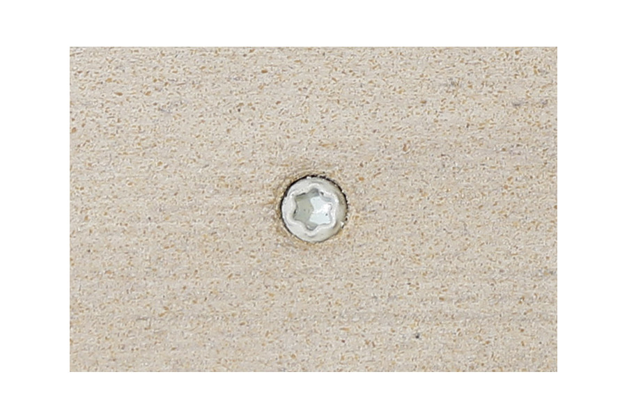 Polar composite decking board with Silver & Polar colour match screw fixed to the middle of the board.