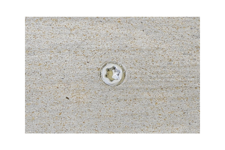 Silver composite decking board with Silver & Polar colour match screw fixed to the middle of the board.