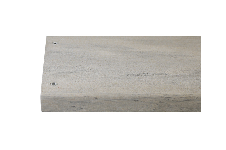 Silver composite decking board with two Silver & Polar colour match screw fixed to the far left face of the board.