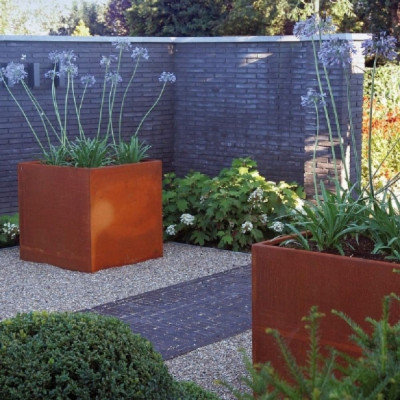 Corten Steel Cube Planter with Feet