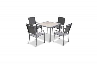 Milano 4 Seat Dining Set & Sling Armchairs