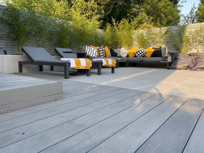 Pebble Grey Brushed Composite Decking