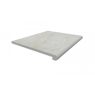 White Quartz Porcelain 40mm Bullnose Step