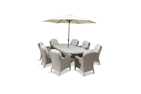 Bergen 8 Seat Oval Dining Set & Parasol