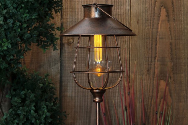 Solar LED Copper Lantern Stake Light
