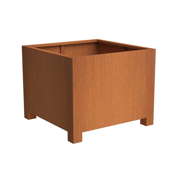 Corten Steel Square Planter with Feet