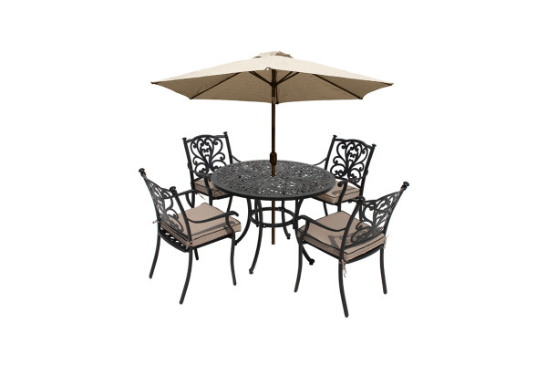 Devon 4 Seat Dining Set & Parasol