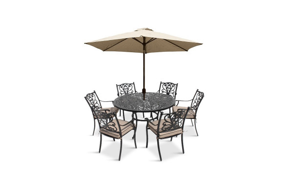 Devon 6 Seat Dining Set & Parasol