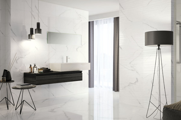 Image also contains White Glazed Ceramic Linea Wall Tile Gloss