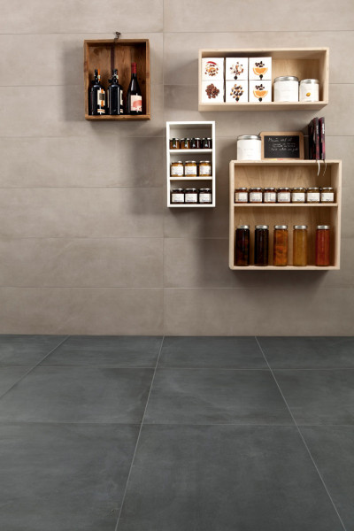 Floor: Indigo Porcelain Tiles | Wall: Cement Porcelain Tiles