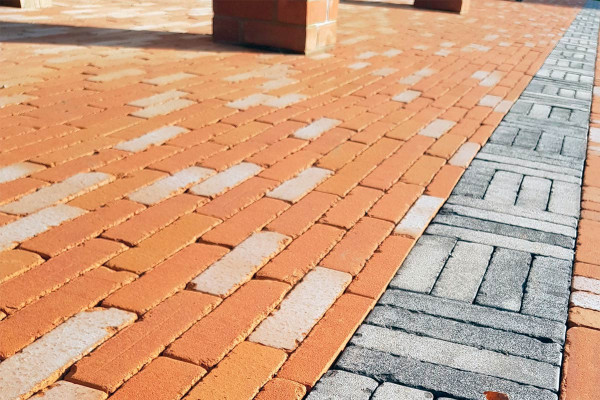 Image Displaying Marigold Antique Clay Pavers mixed with Silver Grey Multi Clay Pavers