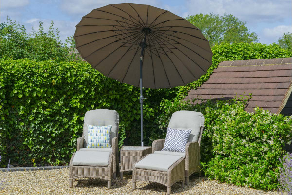 Image displaying taupe parasol; furniture for display purposes only, not included in price.