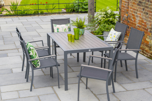 Milano 6 Seat Dining Set & Sling Armchairs