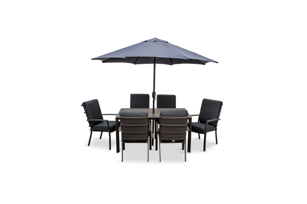Milano 6 Seat Dining Set Highback Cushion Armchairs & Parasol