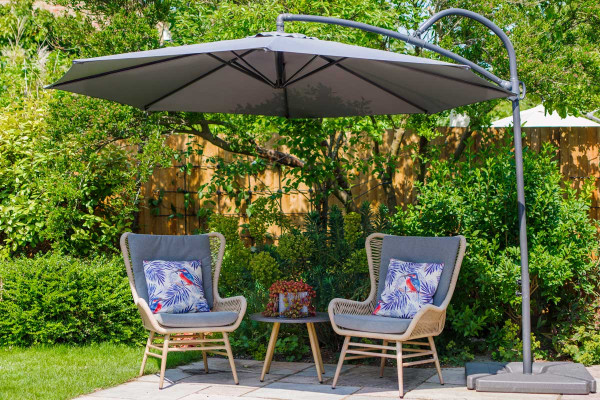 Image displaying grey parasol; furniture for decorative purposes only