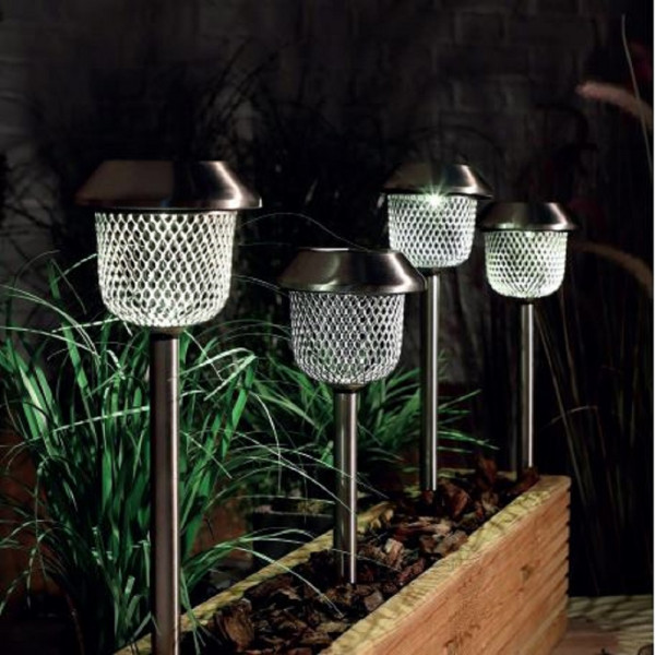 Solar LED White Mesh Stake Lights 10 Lumen