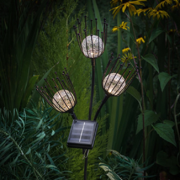 Solar LED Triple Thistle Stake Light