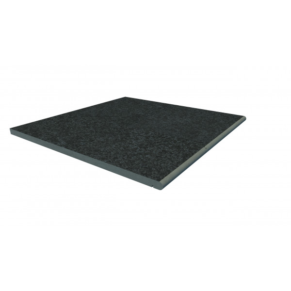 Image Displaying 600x600 Black Basalt Step with a 20mm Bullnose Edge