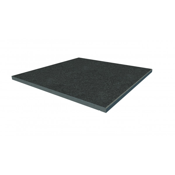 Image Displaying 600x600 Black Basalt Step with a 5mm Chamfer Edge