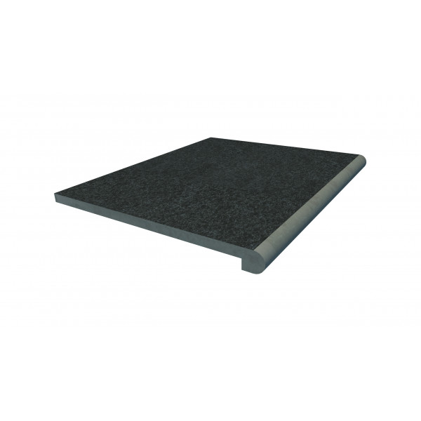 Image Displaying 600x500 Black Basalt Step with a 40mm Bullnose Edge