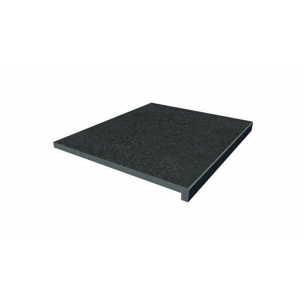 Image Displaying 600x500 Black Basalt Step with a 40mm Downstand Edge