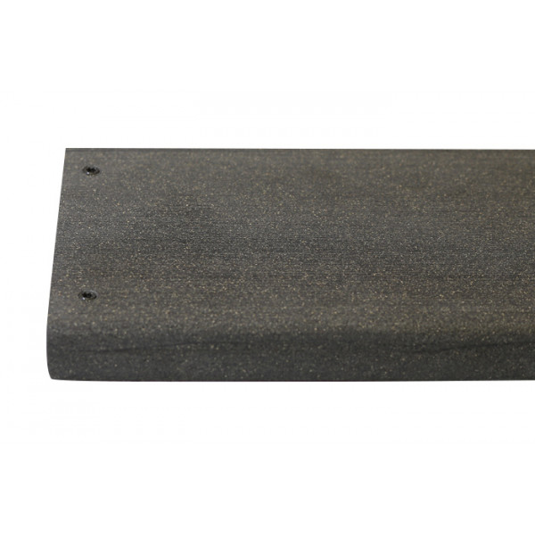 Charcoal composite decking board with two Charcoal colour match screw fixed to the far left face of the board.***