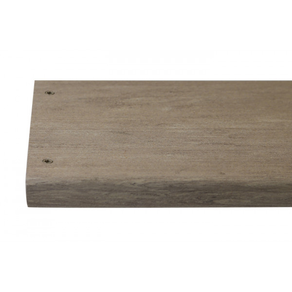 Cinnamon composite decking board with two Cinnamon colour match screw fixed to the far left face of the board.***