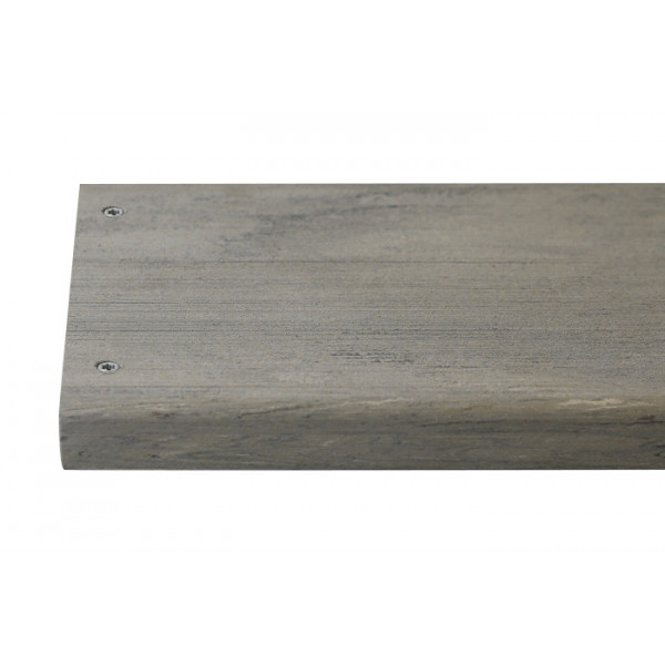 Luna composite decking board with two Luna colour match screw fixed to the far left face of the board.***