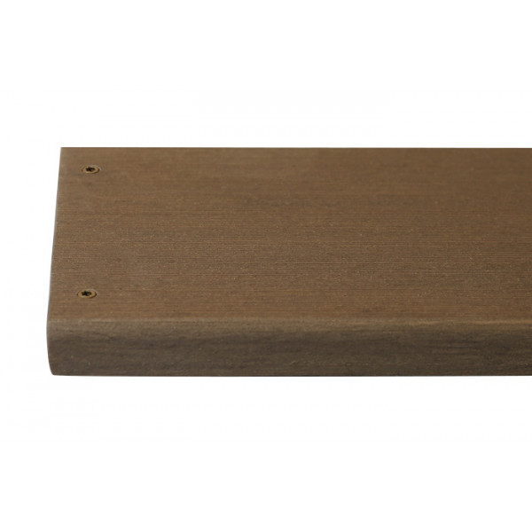 Mocha composite decking board with two Mocha colour match screw fixed to the far left face of the board.***
