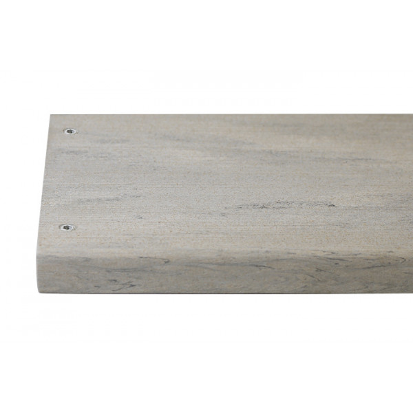 Silver composite decking board with two Silver & Polar colour match screw fixed to the far left face of the board.***