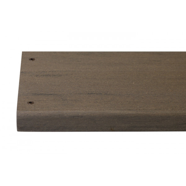 Traditional composite decking board with two Traditional colour match screw fixed to the far left face of the board.***