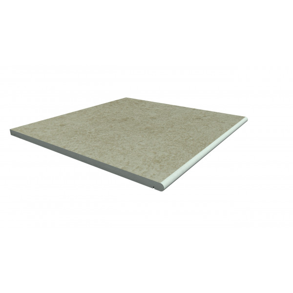 Image Displaying 600x600 Cream Step with a 20mm Bullnose Edge
