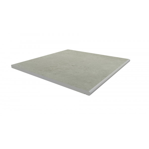 Image Displaying 600x600 Light Grey Step with a 20mm Bullnose Edge
