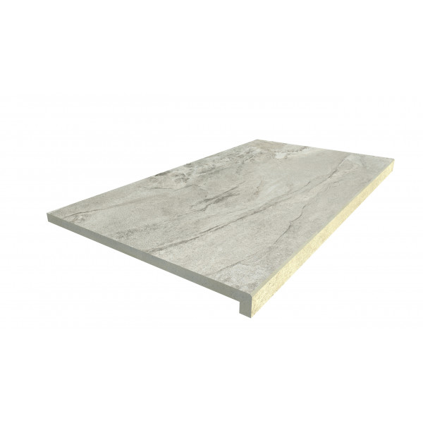 Image Displaying 900x500 Marble Grey Step with a 40mm Downstand Edge