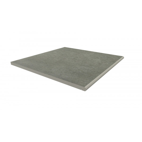 Image Displaying 600x600 Steel Grey Step with a 20mm Bullnose Edge