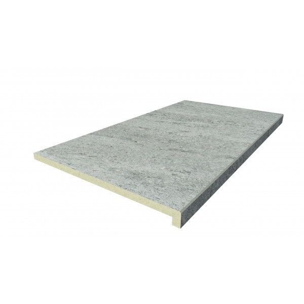 Image Displaying 900x500 Travertine Dark Step with a 40mm Downstand Edge