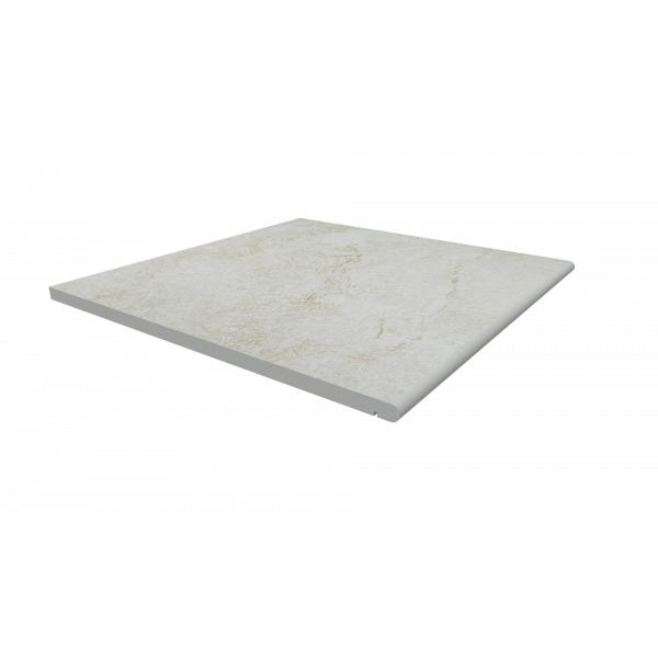 Image Displaying 600x600 White Quartz Step with a 20mm Bullnose Edge