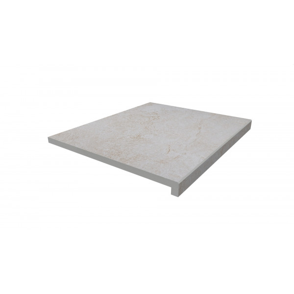 Image Displaying 600x600 White Quartz Step with a 40mm Downstand Edge