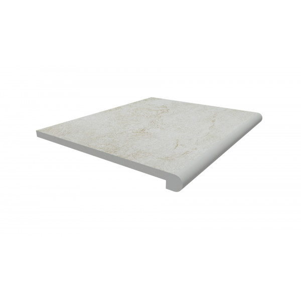 Image Displaying 600x500 White Quartz Step with a 40mm Bullnose Edge