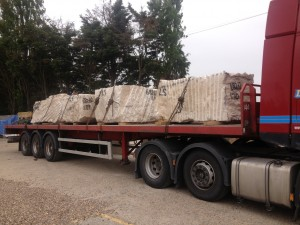 Blocks of Portland Stone arriving from the quarry