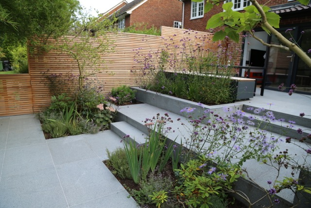 Award-winning Garden Design with Blue Grey Granite ...