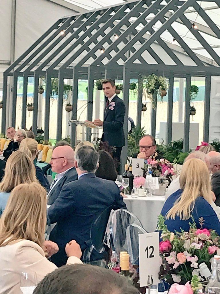 Jamie Butterworth delivers his speech