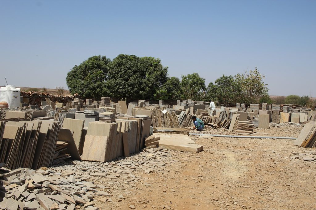 A typical Tier 2 stockyard. All Indian Sandstone originates from yards like this