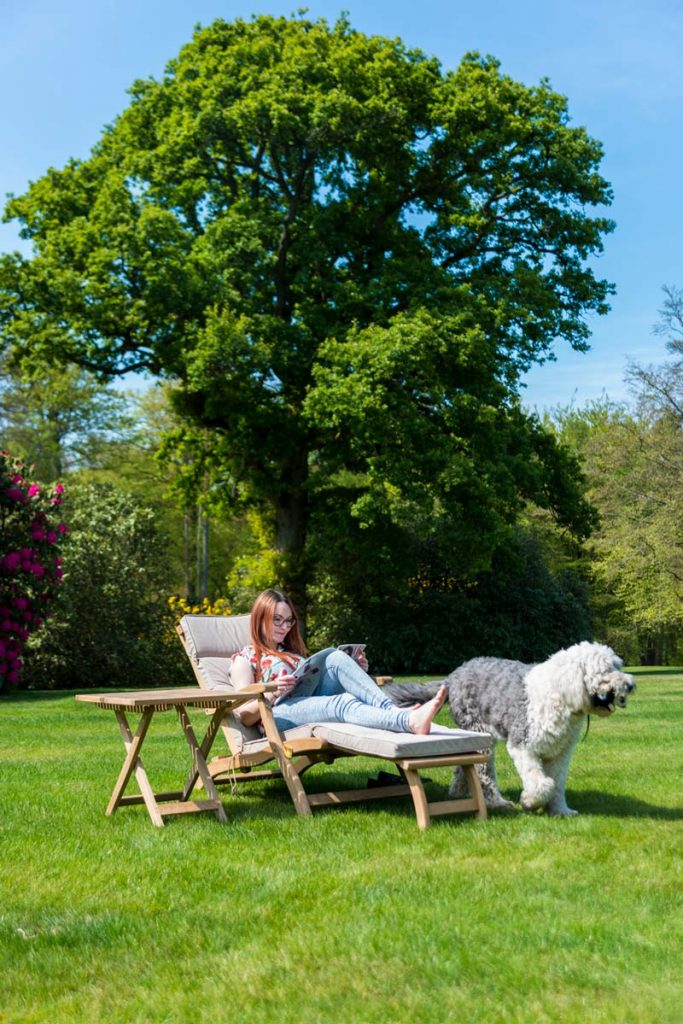 Lady relaxing in garden on sun lounger with sheep dog