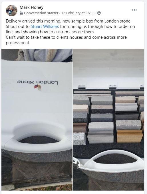 London Stone's New Sample Case - a Facebook customer's response