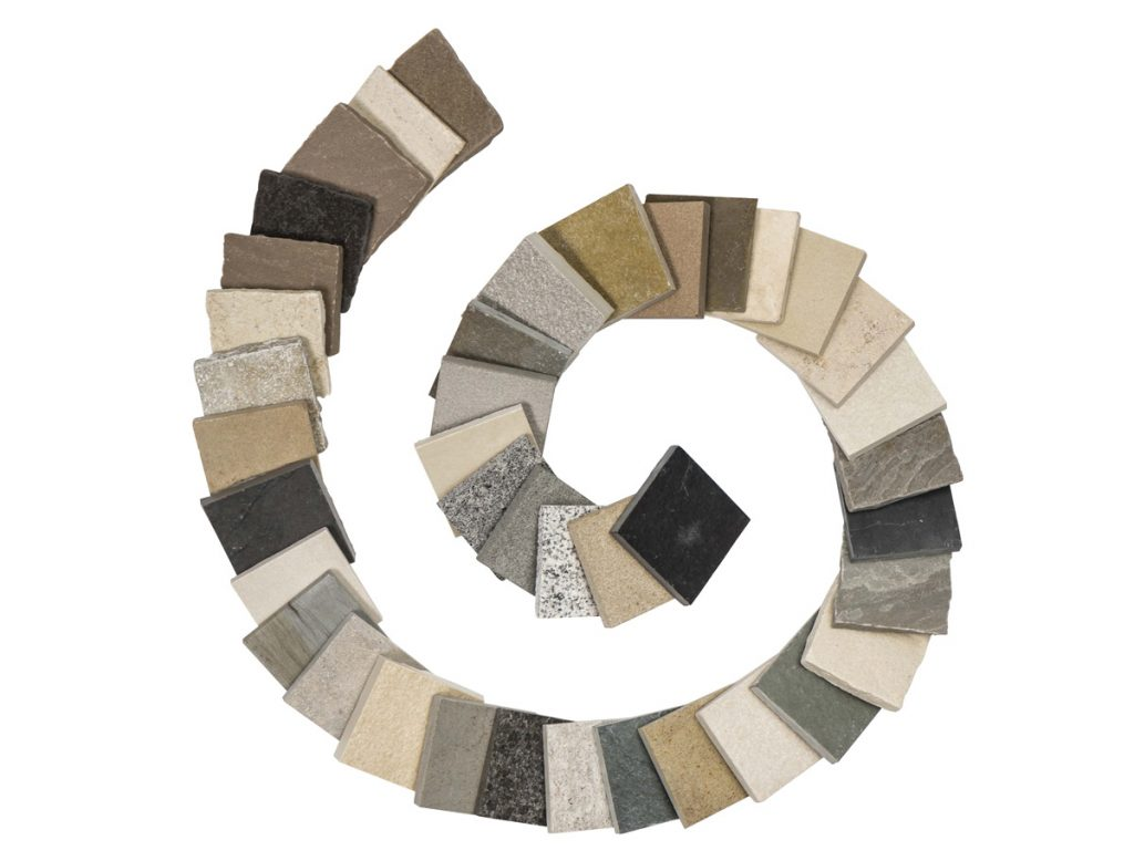 London Stone's natural stone and porcelain samples shown in a spiral shape - fill your sample case