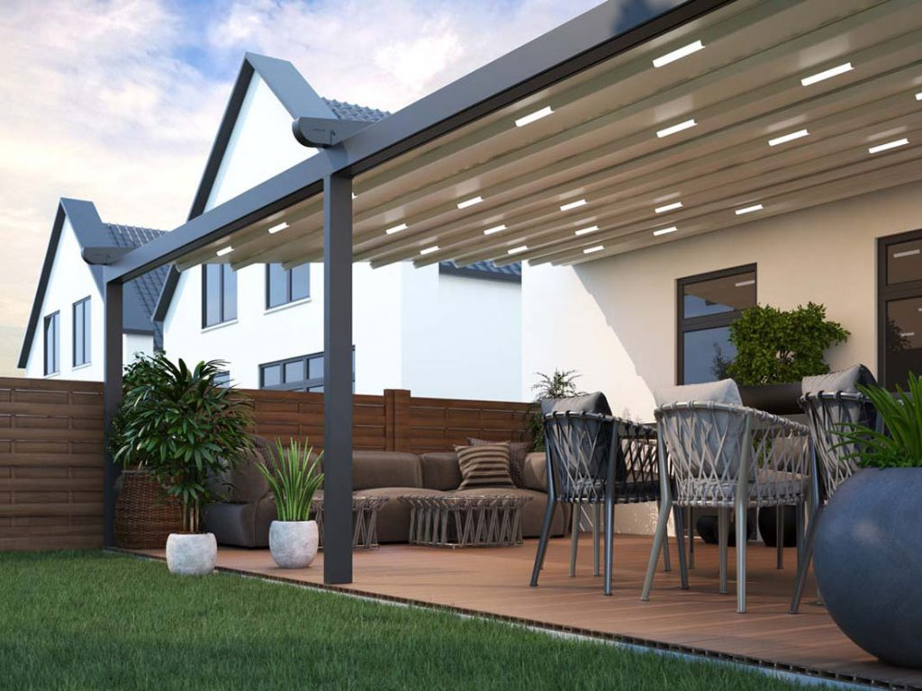 Metal Pergolas create superior living spaces. Garden furniture positioned underneath is ideal for enjoying the garden whatever the weather.